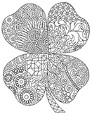 St. Patrick's Day Four Leaf Clover Shamrock Zentangle Colo