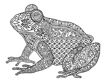 Frog Amphibian Zentangle Coloring Page by Pamela Kennedy | TpT