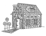 Christmas Gingerbread House Zentangle Coloring Page