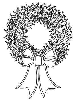 Winter Holiday Holly Wreath Zentangle Coloring Page