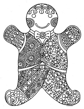 Winter Holiday Gingerbread Man Zentangle Coloring Page