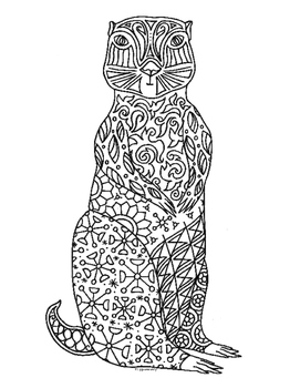 Groundhog Zentangle Coloring Page