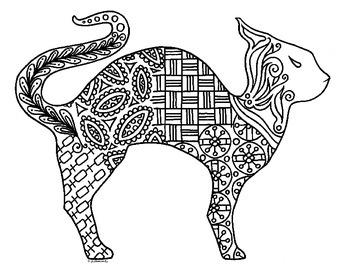 Halloween Cat Zentangle Coloring Page