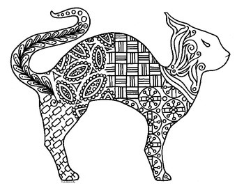 Halloween Cat Zentangle Coloring Page