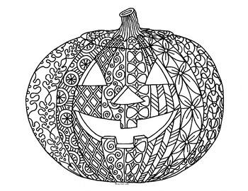 Halloween Jack o' Lantern Zentangle Coloring Page