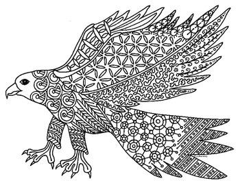 Hawk Falcon Bird Zentangle Coloring Page