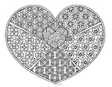 Valentine Heart Zentangle Coloring Page