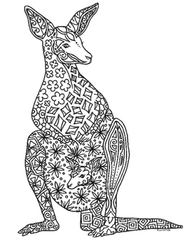 Kangaroo and Joey Zentangle Coloring Page
