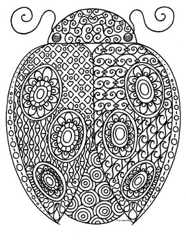 Ladybug Insect Zentangle Coloring Page