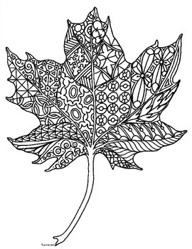 Autumn Maple Leaf Zentangle Coloring Page