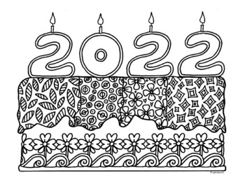 2017 New Year Cake Zentangle Coloring Page