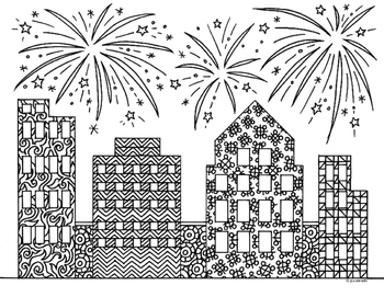 New Year Skyline Fireworks Zentangle Coloring Page