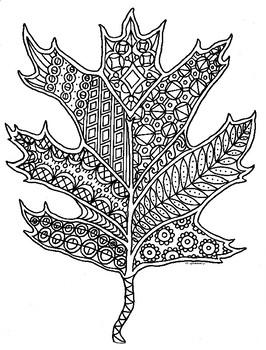 Autumn Oak Leaf Zentangle Coloring Page