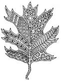 Oak Leaf Autumn Zentangle Coloring Page
