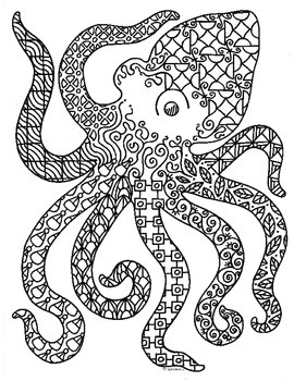 Octopus Sea Creature Zentangle Coloring Page