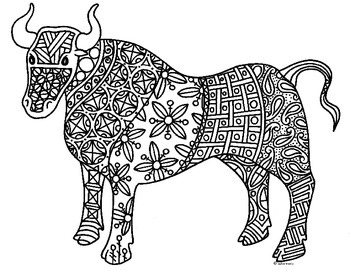 Ox Zentangle Coloring Page 2021 Chinese New Year By