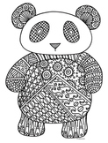 Panda Bear Zentangle Coloring Page