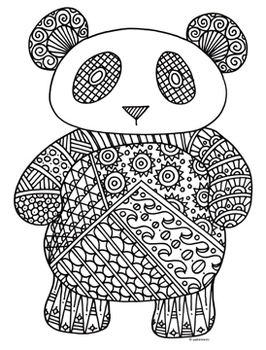 panda bear zentangle coloring page - Zentangle Coloring Pages