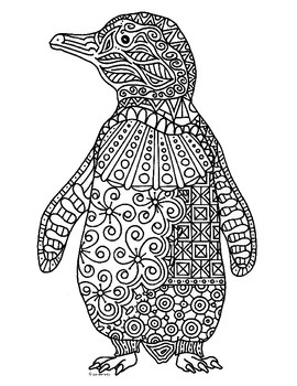Penguin Zentangle Coloring Page
