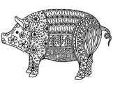 Pig Zentangle Coloring Page: 2019 Chinese New Year