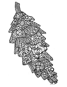 Autumn Pine Cone Zentangle Coloring Page