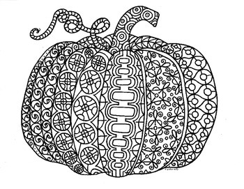 Autumn Pumpkin Zentangle Coloring Page
