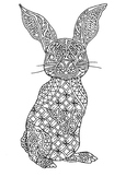 Rabbit Zentangle Coloring Page
