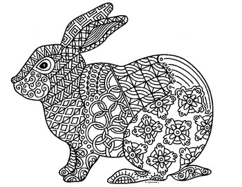 Kleurplaten Rebits Rabbit Zentangle Coloring Page 2023 Chinese New Year By