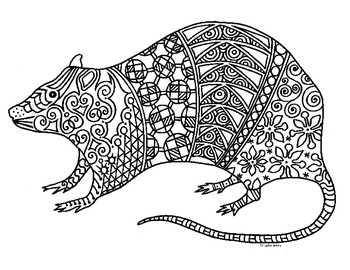 Rat Zentangle Coloring Page: 2020 Chinese New Year