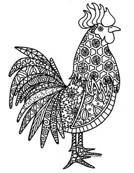 Rooster Zentangle Coloring Page