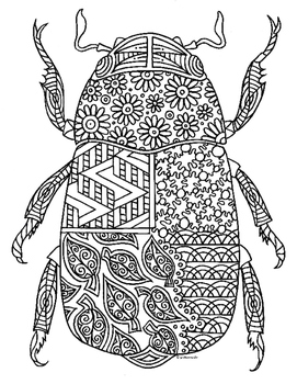 Scarab Beetle Insect Zentangle Coloring Page
