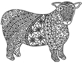 Sheep Zentangle Coloring Page