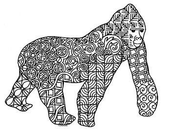 Silverback Gorilla Zentangle Coloring Page