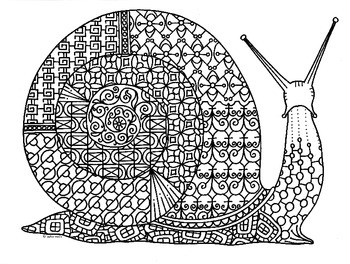Snail Zentangle Coloring Page
