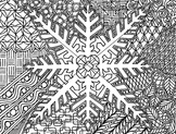 Winter Snowflake Zentangle Coloring Page