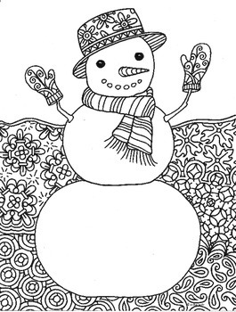 Snowman Winter Zentangle Coloring Page