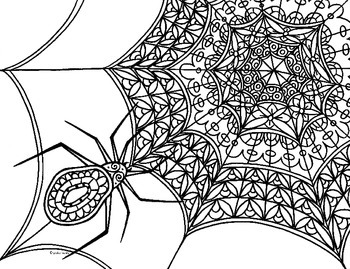 Spider & Web Zentangle Coloring Page