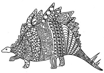 Stegosaurus Dinosaur Zentangle Coloring Page