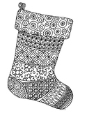 Christmas Stocking Zentangle Coloring Page