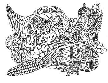 Thanksgiving Autumn Cornucopia Zentangle Coloring Page