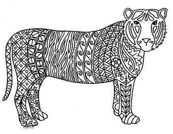 Tiger Zentangle Coloring Page 2022 Chinese New Year By