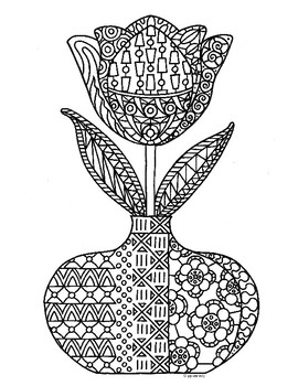 Spring Tulip Flower Zentangle Coloring Page