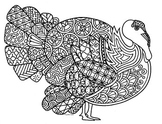 Turkey Thanksgiving Zentangle Coloring Page