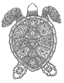 Turtle Reptile Zentangle Coloring Page