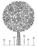 Valentine Heart Tree Zentangle Coloring Page
