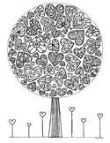 Black & White Detailed Valentine Tree Coloring Sheet