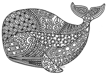 Whale Zentangle Coloring Page