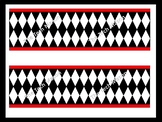 Black, White, and Red Diamond Harlequin Bulletin Board Border