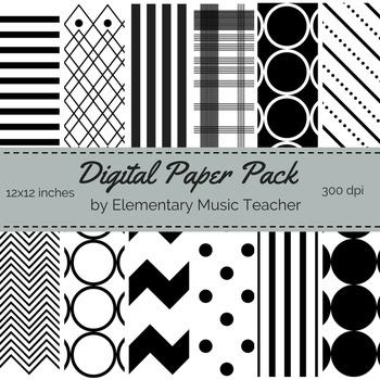 Black & White Digital Paper Pack - 12 Designs