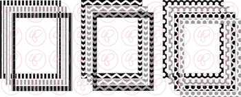 Black & White Doodle Frames and Labels Digital Borders Clipart by Poppydreamz